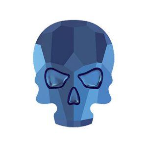 Skull Flat Back Crystal Metallic Blue (2pcs)