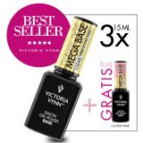 Pack 3 Mega Base Clear 15ml + Cover Pink 8ml