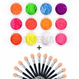 Pack de 12 Pigments Neon + 12 applicateur double sponge